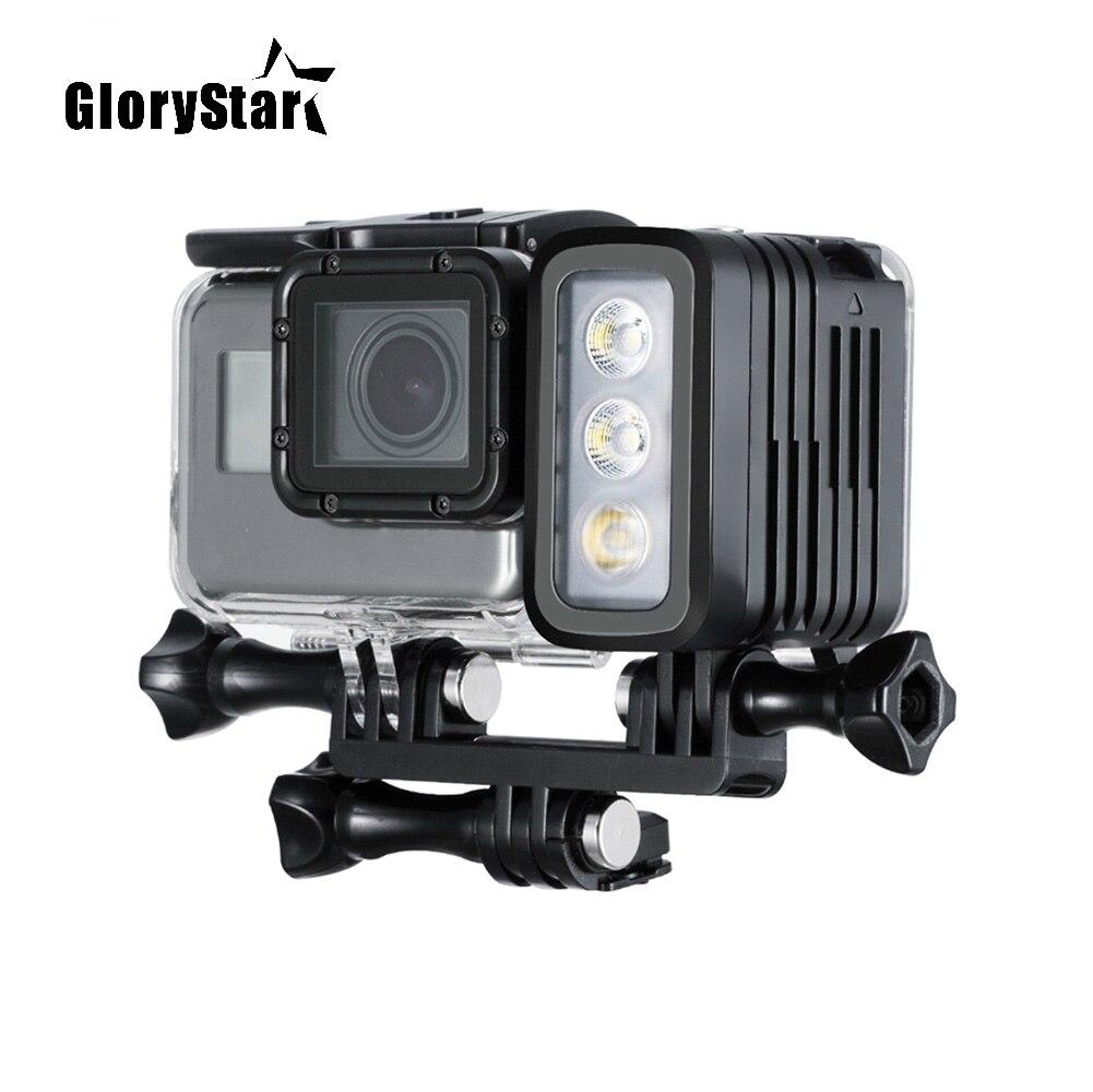 GloryStar 50 mt Wasserdicht Tauchen LED Licht AHDBT 401 Dual Batterie Spot Lampe für GoPro HERO 345 6 7 Schwarz für Xiaomi Yi-in Sportcamcorder-Hüllen aus Verbraucherelektronik bei AliExpress