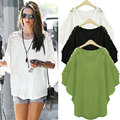 S-5XL Large Size Blusas 2016 New Summer Blouse Women's Lace Crochet Short Batwing Sleeve Solid Shirts Lady Casual Loose Tops