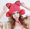 2016 Autumn and winter freeshipping Wool knitted fashion bunny ear winter cap Women winter fashion accessories