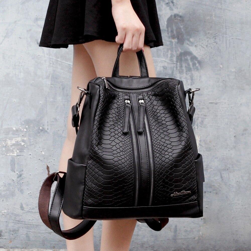 Designer en cuir véritable sac à dos femmes serpent imprimer voyage sac à dos femme sac à dos sacs d'école pour les filles mochila sac femme tas