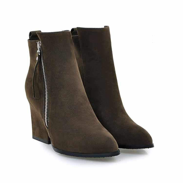 Büyük Boy 9 10 11 12 çizmeler kadın ayakkabıları yarım çizmeler kadınlar için bayan botları Metal kaplama tıknaz yan fermuar bileğe kadar bot