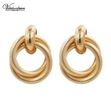 Vodeshanliwen de moda de Metal de oro ronda pendientes bohemia de alta calidad geométrica Stud pendientes para las mujeres joyería de moda al por mayor