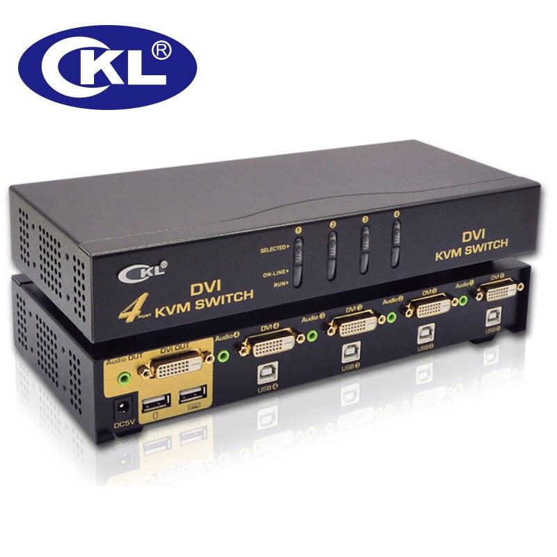 Commutateur de moniteur de PC de souris de clavier de commutateur d'usb DVI KVM de 4 ports avec le Support Audio et automatique de balayage 1920*1200 DDC2B CKL-94D en métal