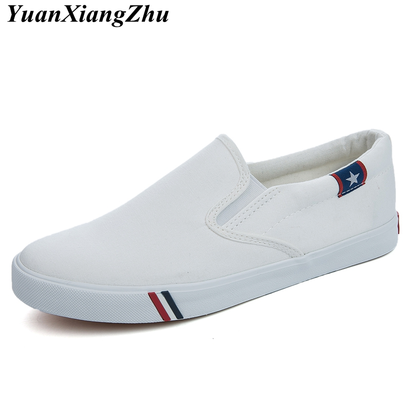 Image 2 - Men Canvas Shoes Simple Casual Mens Loafers 2019 Autumn High Quality Anti Slip Comfortable Vulcanized Shoes Man Flats Size 35 47-in Men's Casual Shoes from Shoes