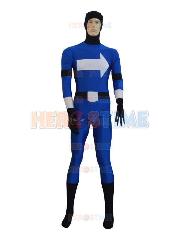 Deep Blue White Arrows Superhero Costume Adult  Male Spandex Lycra Halloween Cosplay Party Zentai Suit Hot Sale Free Shipping