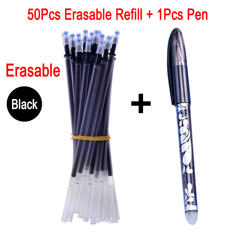 DELVTCH 50Pcs Set 0 5mm Erasable Refill Magic Erasable Pen Refill Rods Office Gel Pen Refill Blue Black Stationery Writing Tools in Gel Pens from Office School Supplies