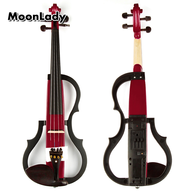 4/4 Wood Electric Violin Red Musical Instruments High Quality Ebony Stringed Instrument Suitable for Beginners and Music Amateur 4 4 violin fiddle stringed instrument musical for kids student beginners high quality basswood body steel string arbor bow rosin