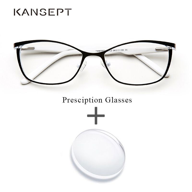 KANSEPT Metal Women Prescription Glasses Cat Eye Computer Myopia Oculos De Grau