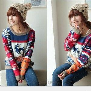 2017 spring regular dress Deer pattern o- neck sweater loosen pullover christmas sweater women free size JX3327