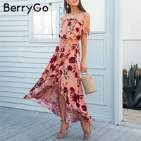BerryGo Off Shoulder Ruffle Two Piece Long Dress Women Casual Beach Boho Chic Dress Suit Backless