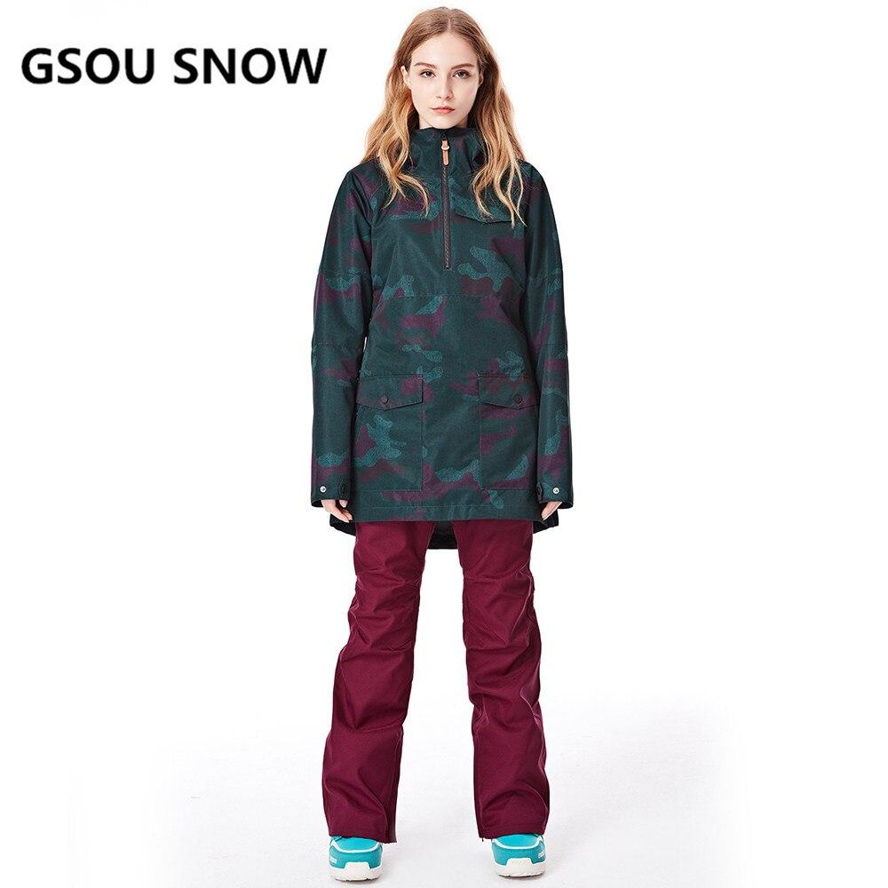 GSOU SNOW nouvelle veste de Ski femmes Anti-boulochage Snowboard manteaux imperméable mode coupe-vent femme Ski vestes respirant coton