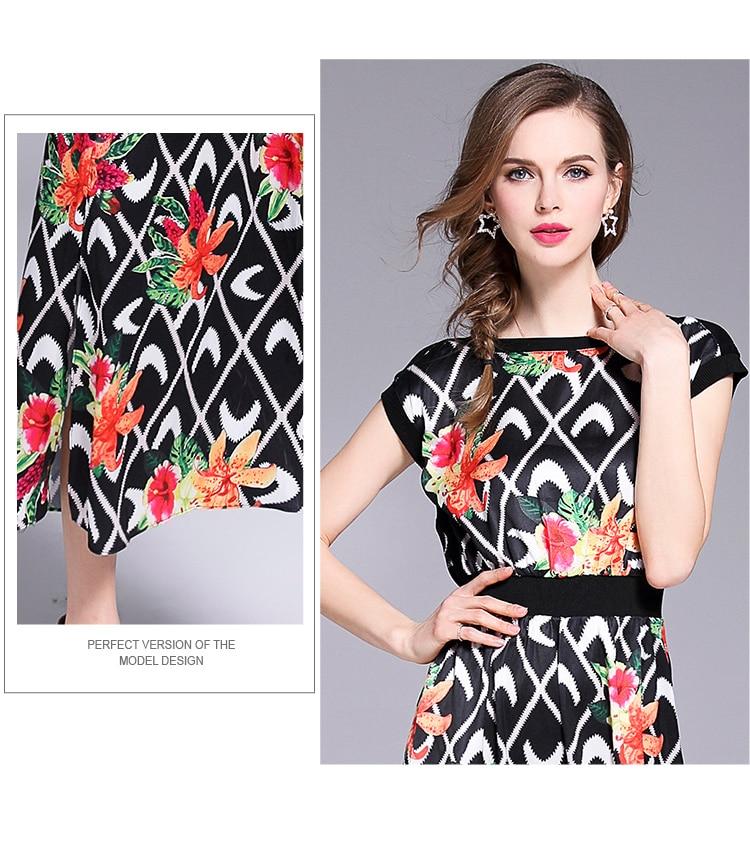 095482a592 Womens Long Dresses Elegant 2018 Short Sleeve Summer Dress Women Luxury  Vintage Floral Print Plaid Chic