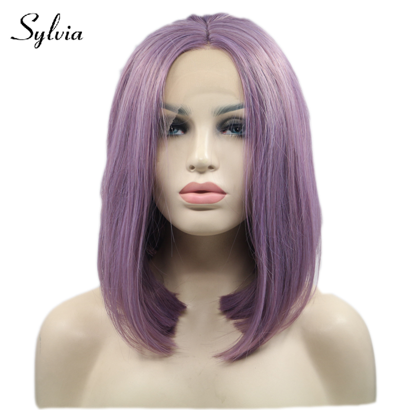 Sylvia mixed purple short straight synthetic lace front wigs with middle parting natural purple bob hairstyle heat resistant