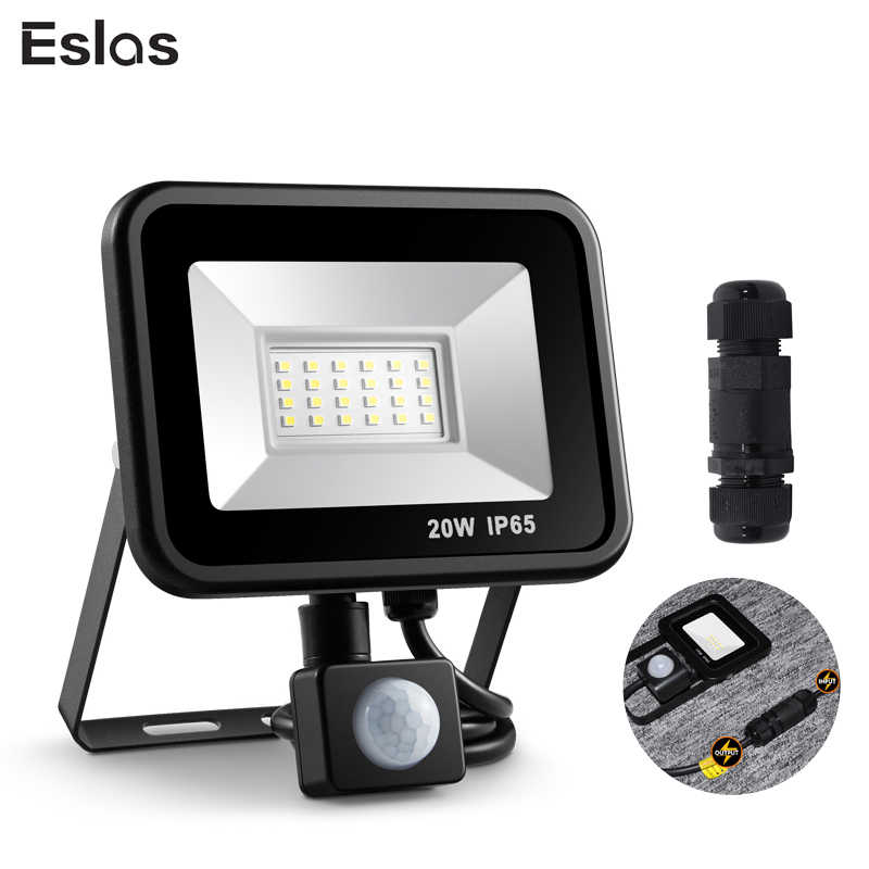 Eslas Led Floodlight 10W 20W Outdoor Spotlight With Motion Sensor AC 220V 240V Waterproof Garage Lamp for Wall light