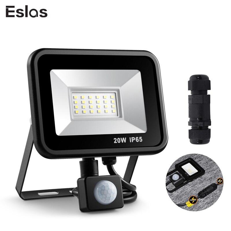 Eslas Ha Condotto Il Proiettore 10W 20W Faretto per Esterni Con Sensore di Movimento 220V AC 240V Impermeabile Garage Lampada per la luce Della Parete