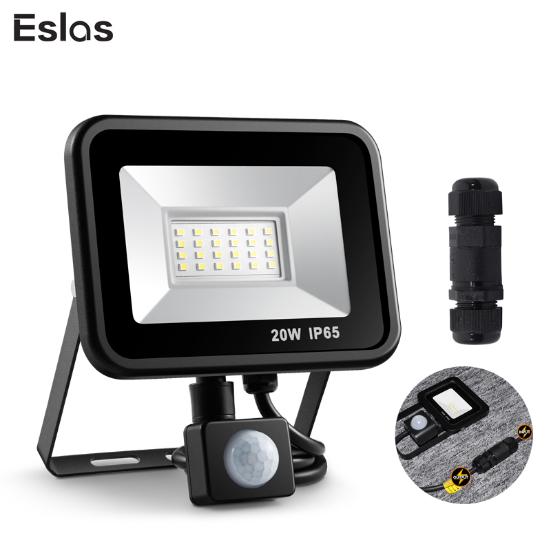 Eslas Led Floodlight 10W 20W Outdoor Spotlight With Motion Sensor AC 220V 240V Waterproof Garage Lamp For Wall Light