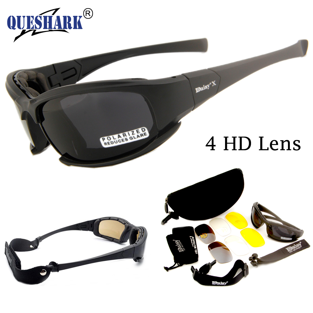 Prix pour DAISY X7 Lunettes 4LS Hommes Militaire lunettes de Soleil Polarisées pare-balles Airsoft Tir Lunettes Moto Vélo Lunettes
