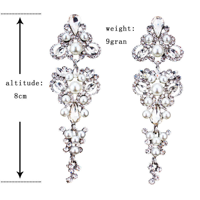 Jiayijiaudo Warna Perak Kupu-kupu Kristal Panjang Drop Anting-Anting untuk Wanita Pengantin Pernikahan Menjuntai Anting-Anting Hadiah Pertunangan