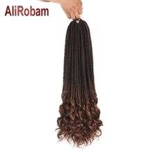 AliRobam 14 18 24 дюймов Синтетические вязанные крючком волосы Свободные кудрявые концевые плетение Парик Косы Омбре плетение волосы для наращивания 22 пряди/упаковка