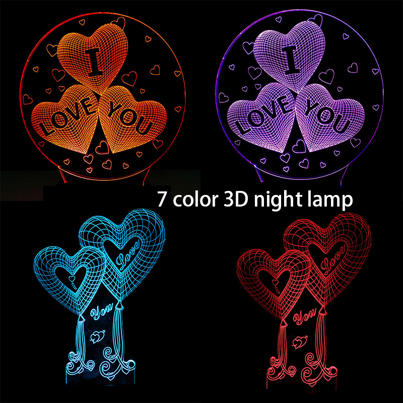 I Love You 3D Sweet Lover Heart Night Lights Led USB Lamp Romantic Wedding Lamp Colorful Luminaria RGB Colors Valentine Day Gift