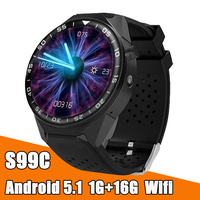 Factory S99C 3G WIFI SIM GPS Smart Watch phone 1.3 inch Heart Rate monitor with Camera Video Health Android IOS Smartwatch clock