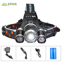 ZPAA 3 CREE XML T6 LED Head Torch Flashlight 4 Mode Zoomable Powerful 12000 Lumens LED