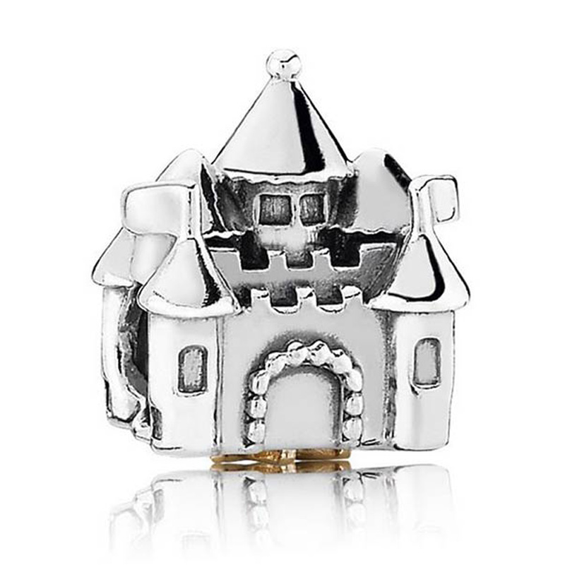 Authentic 925 Sterling Silver Bead Charm Vintage Happily Ever After Castle Beads Fit Pandora Bracelet Bangle