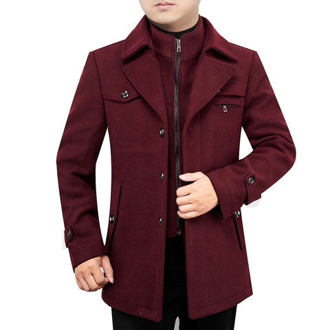 2019 New Arrival Autumn High Quality Wool Grey Casual Trench Coat Men Mens Winter Black Gray Business Wool Jackets M-XXXL Karachi