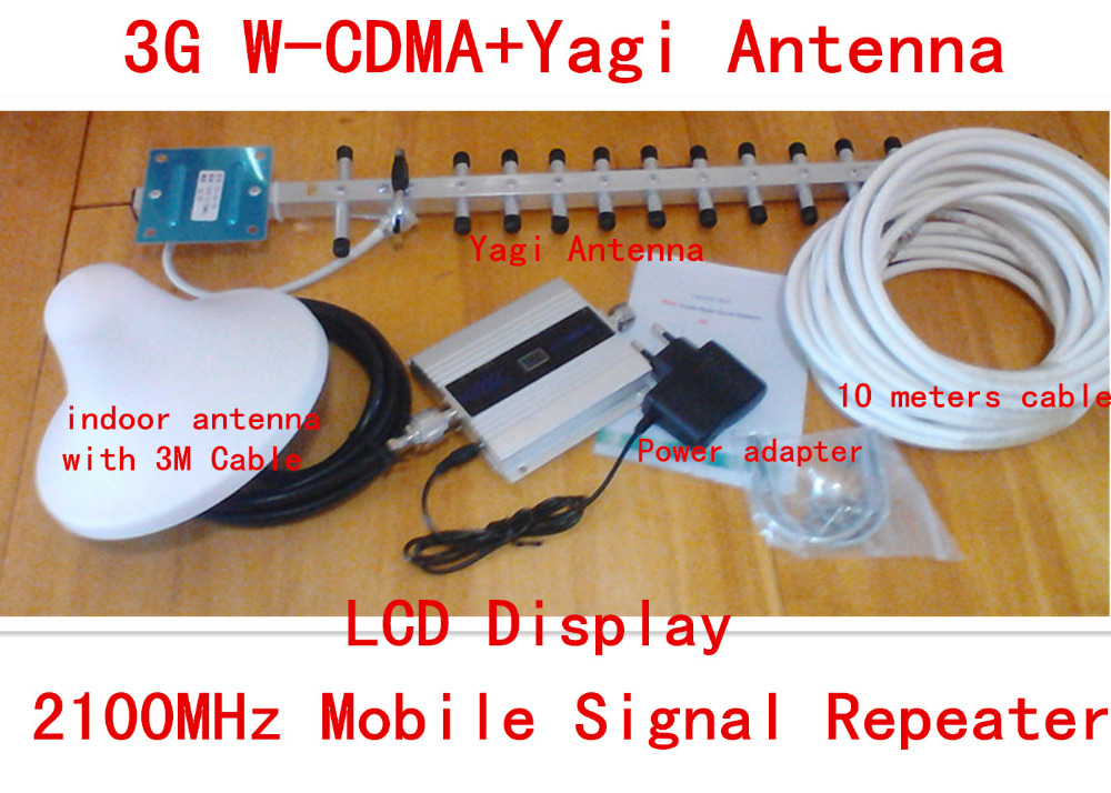 LCD Display 3G WCDMA 2100mhz Signal Booster Repetidor 2100MHz GSM Signal Booster Cell Phone Signal Amplifier With 3G AntennaLCD Display 3G WCDMA 2100mhz Signal Booster Repetidor 2100MHz GSM Signal Booster Cell Phone Signal Amplifier With 3G Antenna