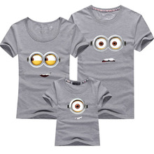 1PCS Cotton Family Matching Outfits Minions T Shirts mother & kids