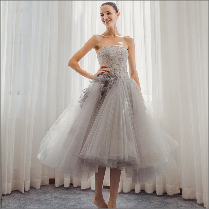 Luxury Vintage Tea Length Cocktail Dresses Party gown 2017 Strapless Lace Puffy Tulle Robe Cocktail Formal Wear for Women
