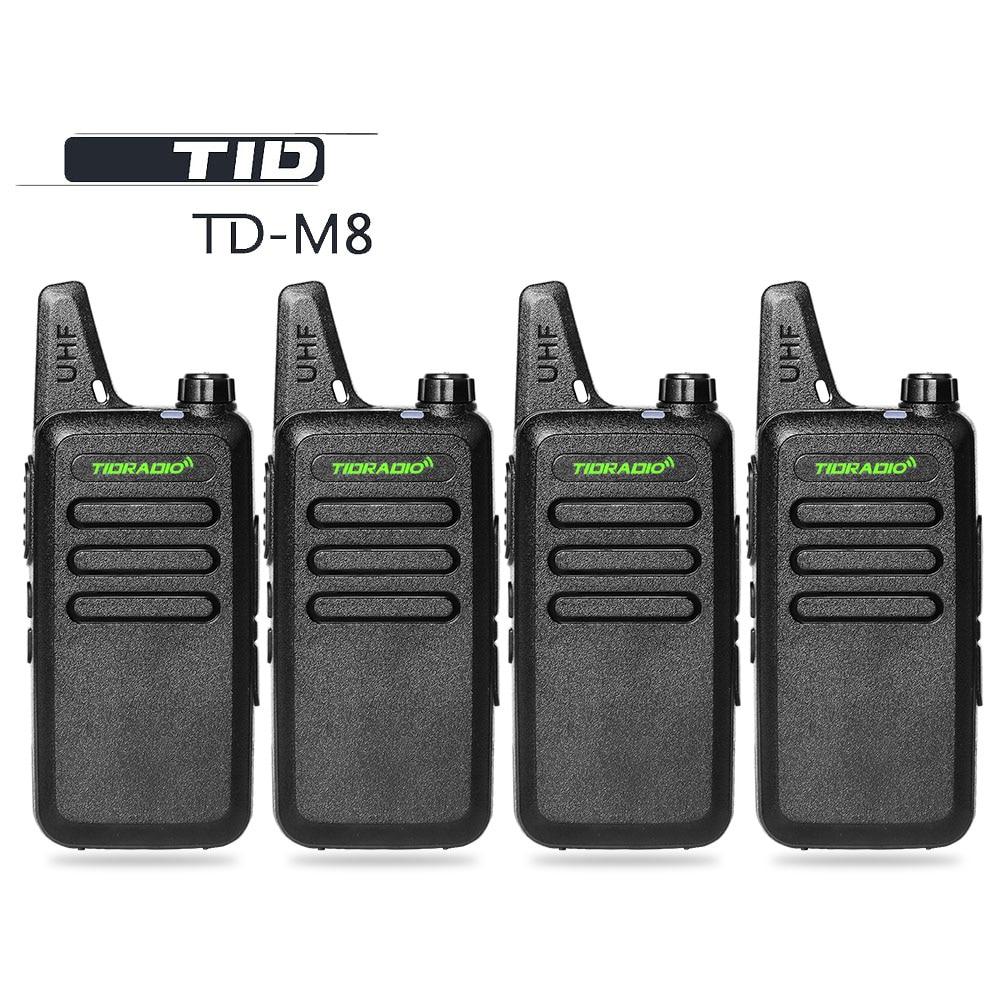 4PCS / παρτίδες TID ραδιόφωνο TD-M8 μίνι Walkie Talkie UHF 400-470MHz Communicator CB ραδιόφωνο ραδιοφώνου HF Transce διπλής κατεύθυνσης ραδιόφωνο για παιδιά Παιχνίδια