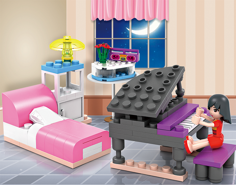 COGO Dream Girl Educational Building Blocks Toys For Children Kids Gifts Friend Piano City House Compatible With Legoe