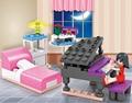 Cogo dream girl educativos bloques de construcción de juguetes para los niños regalos amigo piano ciudad casa compatible con legoe