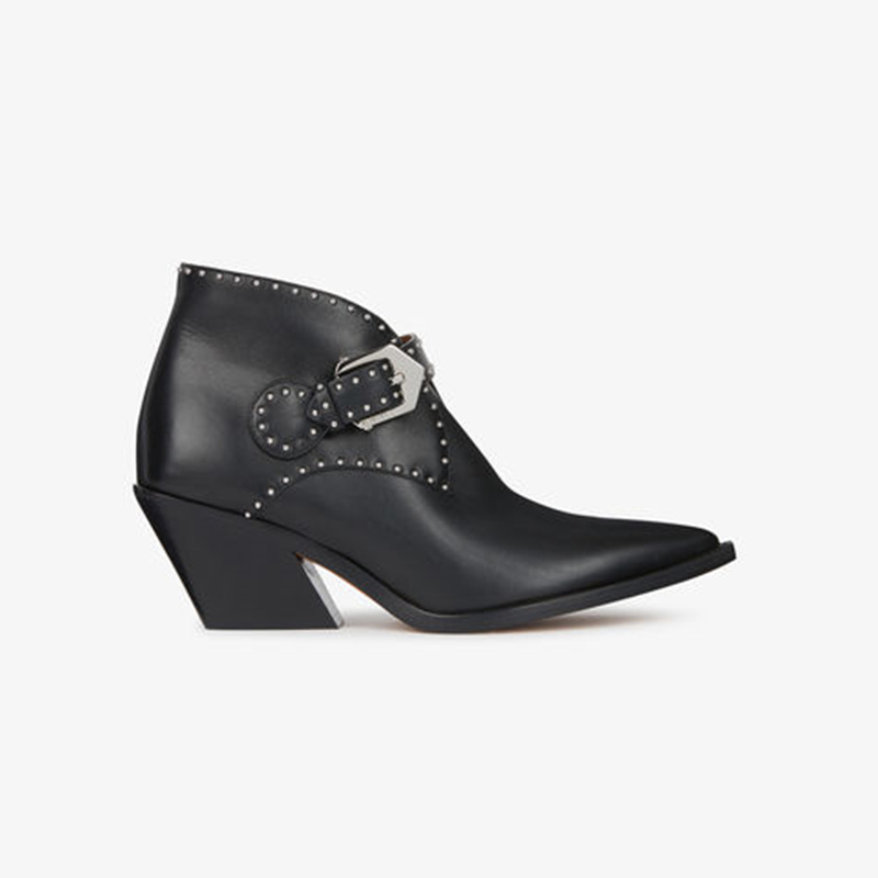 Chelsea Boots Black Women Ankle Boots High Heel Chic Rivets Embellished Belt Buckle Design Short Booties Brand Star Runway Shoes недорго, оригинальная цена