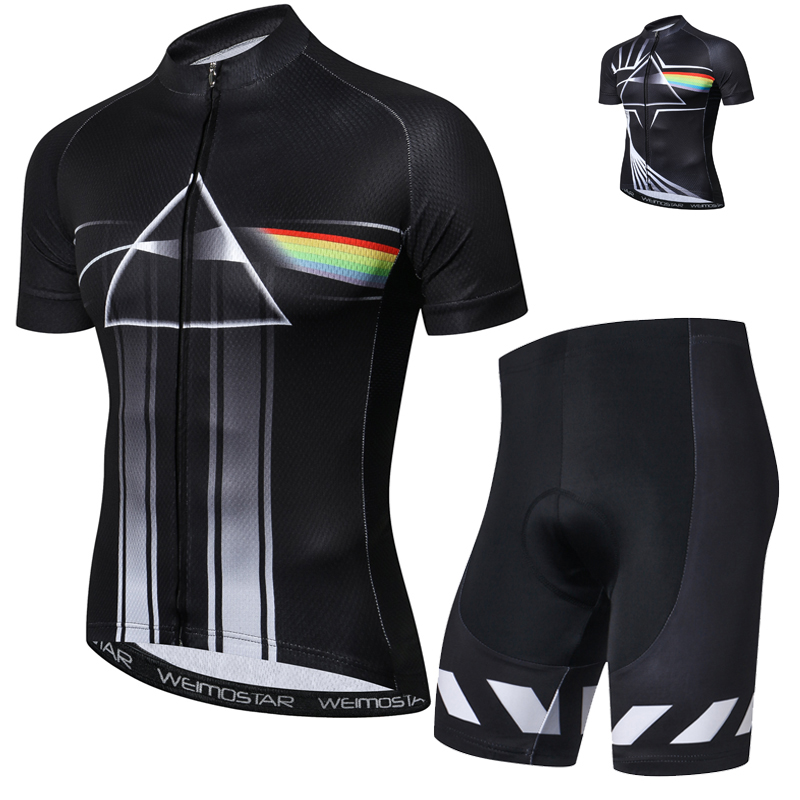Summer Mens Cycling Jersey Set with Bib Ropa De Ciclismo Maillot Ciclismo Quick Dry Pro Team Bike Clothes Gel Pad Shorts Black
