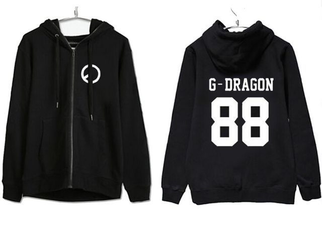 d7dbb63c New arrival kpop bigbang g-dragon top black zipper hoodie jacktet fans  supportive member name
