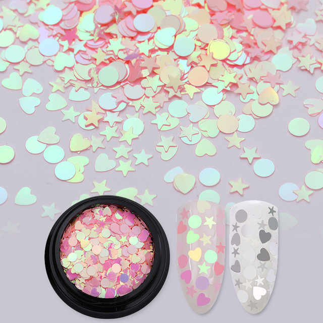 Tırnak Glitter 1 Kutu 1g AB Renk Yanardöner Flakies Nail Yıldız Kalp Yuvarlak Tırnak Sanat Pul Dekorasyon Manikür Madeni Pul Pembe gümüş