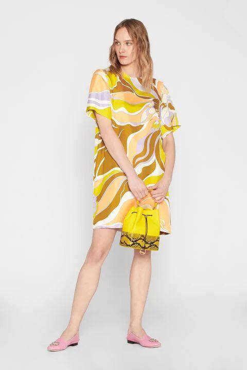 جديد الأزياء المطبوعة قصيرة الأكمام اللون تأثير مرونة محبوك سليم اللباس للنساء-في فساتين من ملابس نسائية على  مجموعة 2