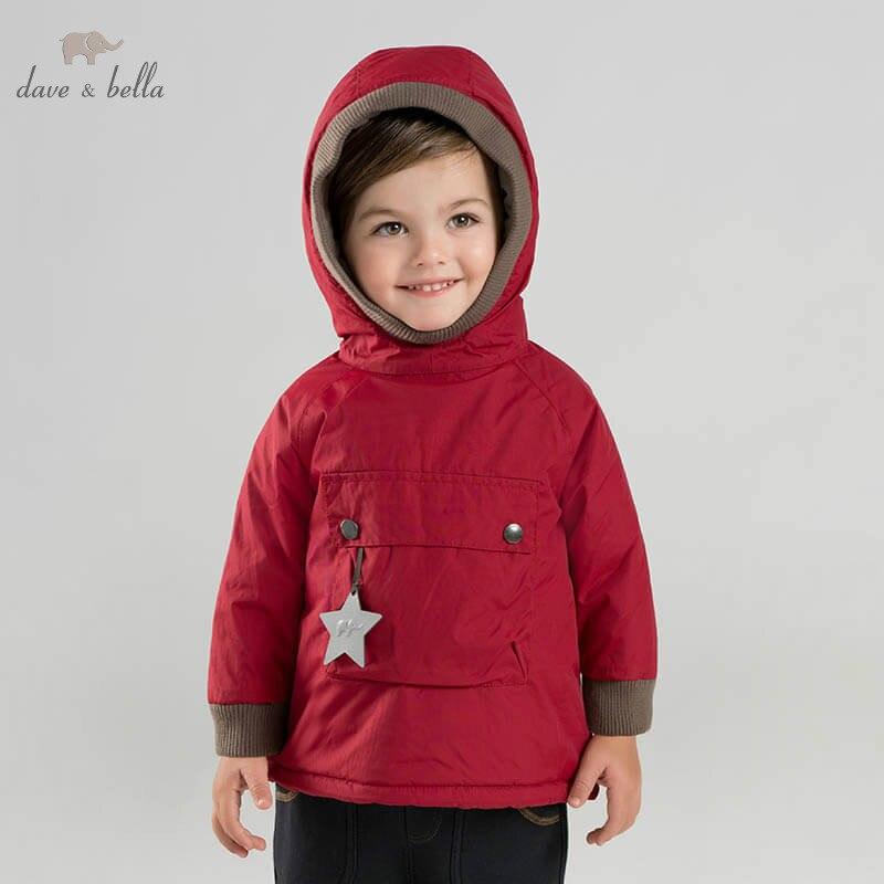 DB8891 Dave Bella зимние детские обивка куртка унисекс модная верхняя одежда детское пальто