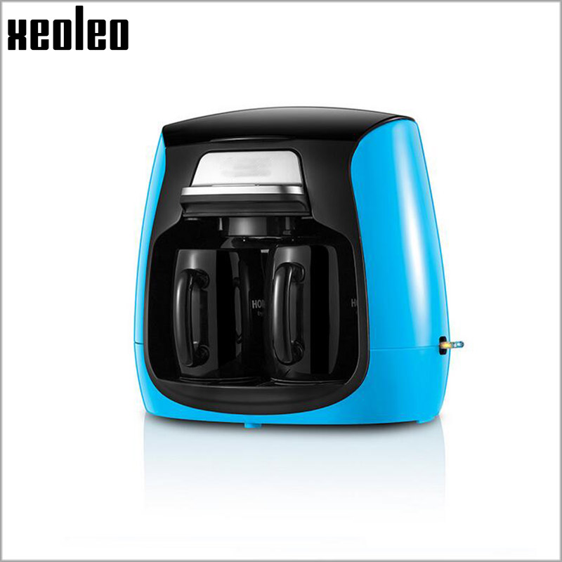 Xeoleo Double cup Coffee maker 0.3L/ 2 cup Drip Coffee maker Mini Coffee machine 220V 420W Hourglass Cafe American 3 Colors coffee maker uses the american drizzle to make tea drinking machine