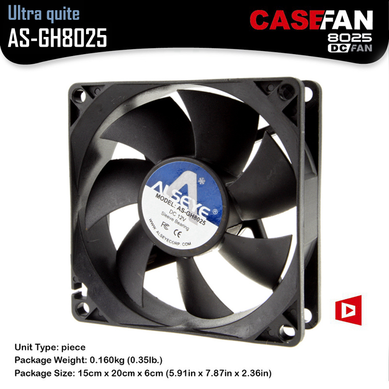 ALSEYE 8cm/80mm Cooling Fan for Computer Case / CPU Cooler DC 12V Axial Fan Cooler 3 Pin 1600RPM Cooler Fans alseye led fan for cpu cooler pc case 120mm computer fan dc 12v 1300rpm cooling fans 4 color available
