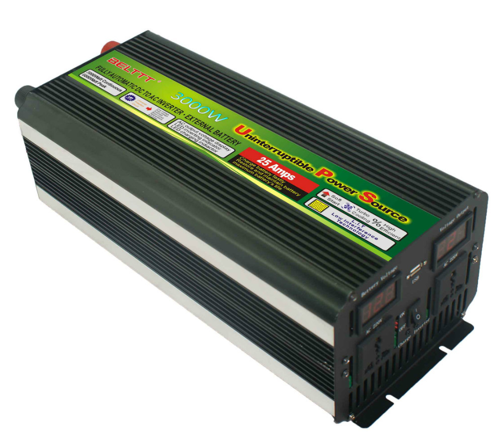 цена на Free Shipping LCD display UPS inverter 3000W 6000W(peak)12v to 220v Inverter+Charger & UPS Quiet and Fast Charge power supply