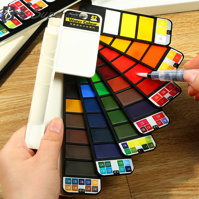 18/25/33/42 Colors Professional Solid Watercolor Paint Set Fan Design Foldable with a Brush for Outdoor