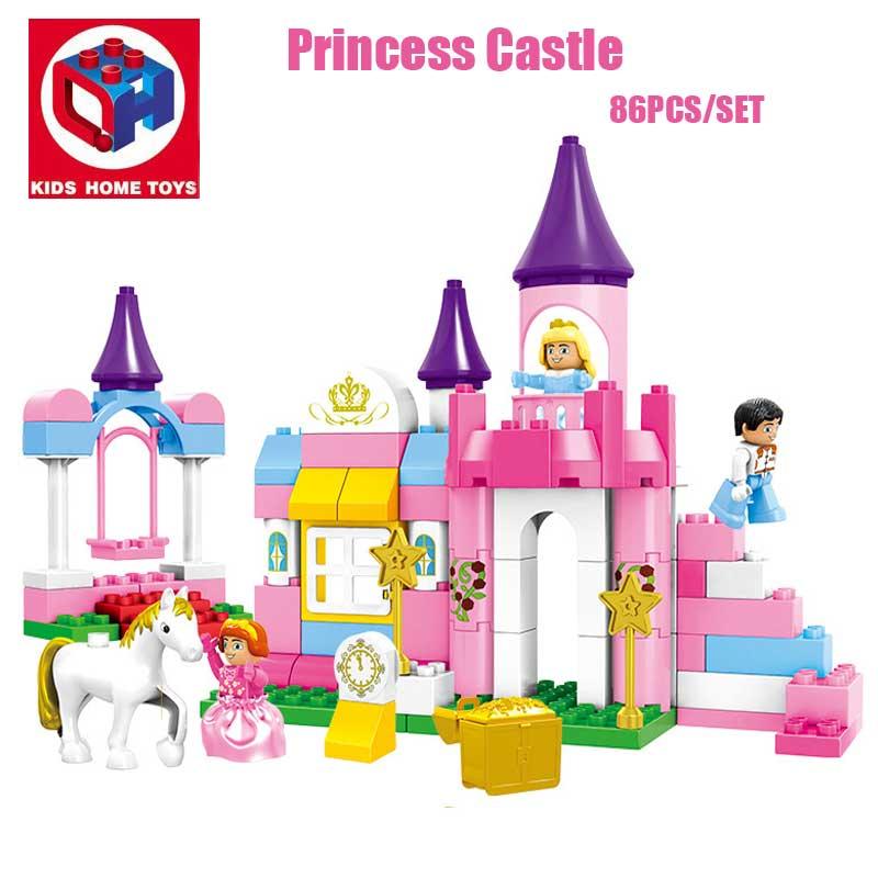 86PCS Large Size 2IN1 Girl's Pink Dream Princess Castle Model Princess Figures Building Blocks Bricks Toy Compatible Duplo