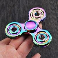 Fidget Spinner Rainbow Alloy Hand Spinner Four Fidget Focus Toy EDC Finger Spin Gyro Adhd New