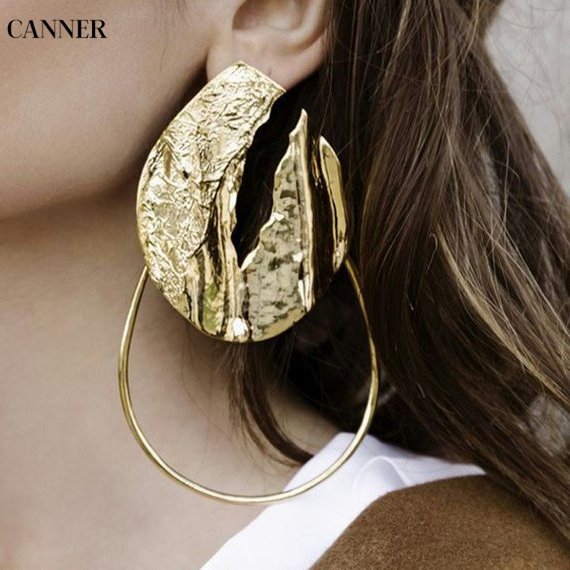 Canner Exaggerate Geometric Hollow Gold Big Metal Drop Earrings For Women Wedding Dangle Statement Jewelry Brincos W4