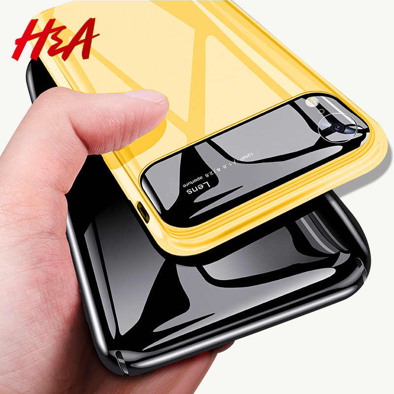 H&A Luxury Mirror Slim Phone Case For Apple iPhone X XR XS Max Anti-knock Hard PC & Glass Phone Cover XS Max XR Protective Cases
