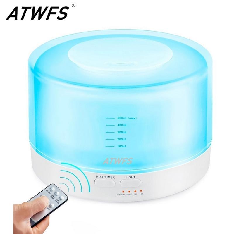 ATWFS Remote Control Ultrasonic Humidifier Essential Oil Diffuser Aroma Mist Maker Aromatherapy Diffuser LED Lamp Fogger