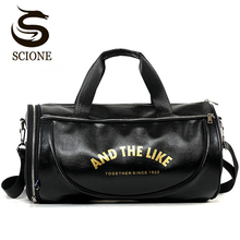 Купить с кэшбэком Hot Fashion PU Leather Men Travel Bags Overnight Duffel Bag Weekend Travel Large Tote Shoulder Bags Crossbody Travel Bags